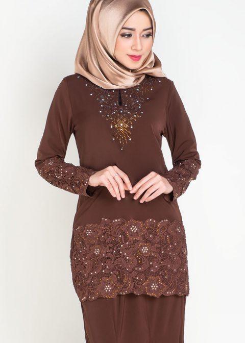 baju kurung moden prada lace brown