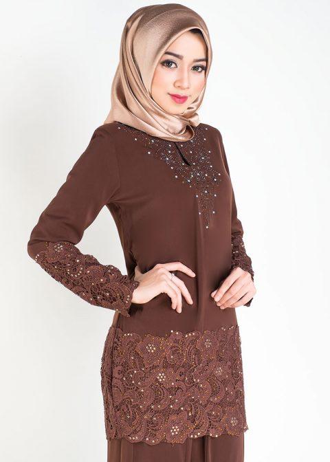 baju kurung moden prada lace brown closeup