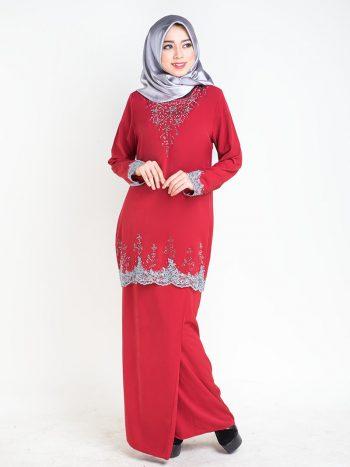 baju kurung moden safiyya red plus size