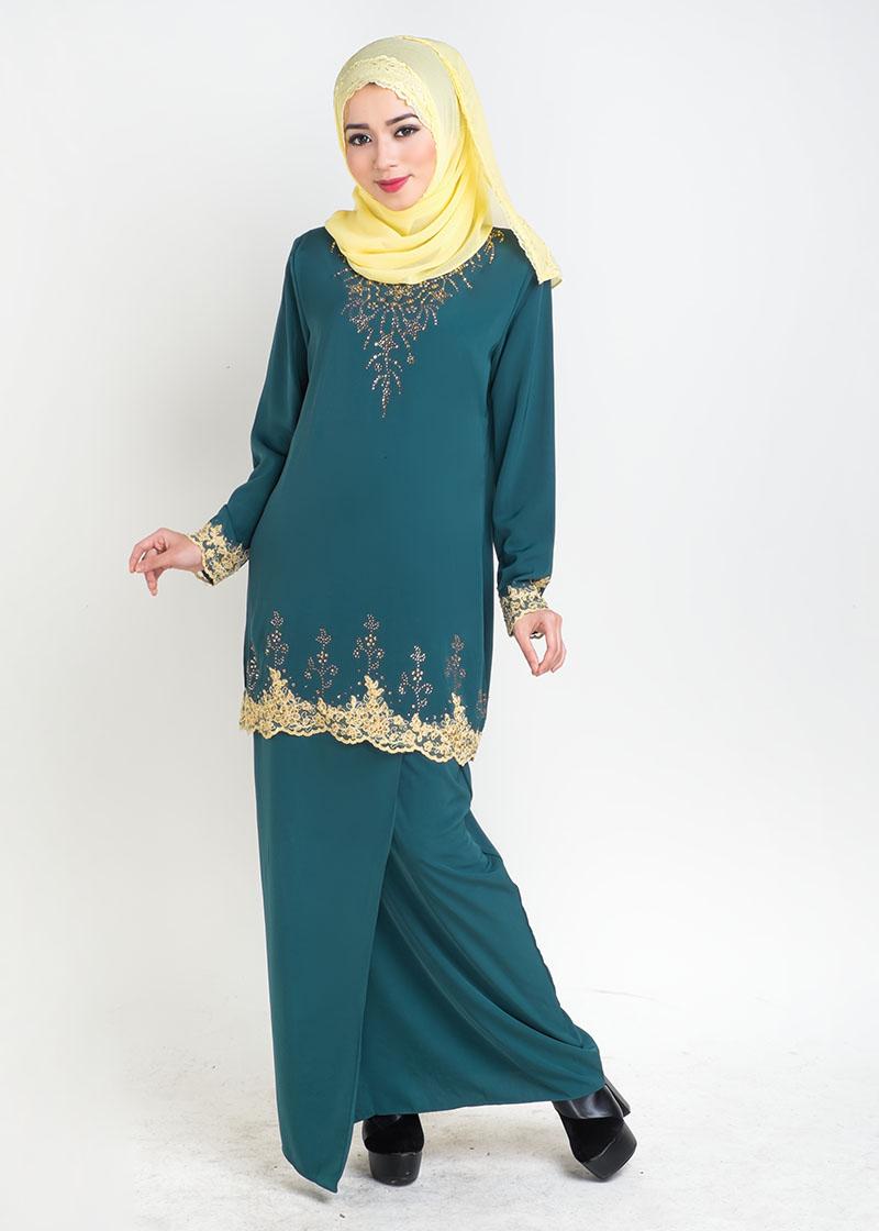 Baju Kurung Moden Safiyya Plus Size Green - LovelySuri.com
