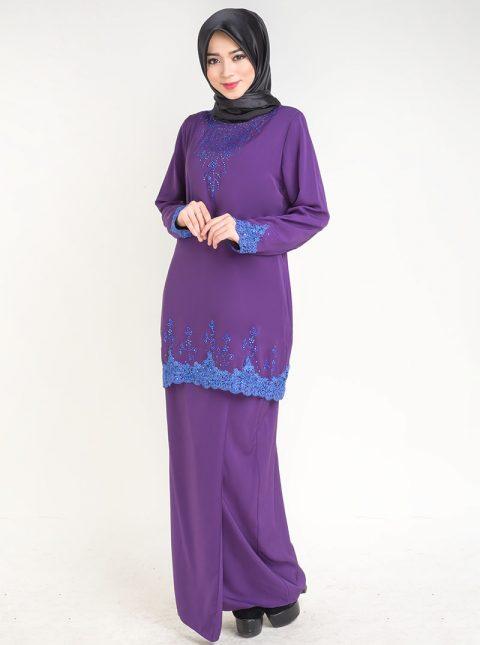 baju kurung moden safiyya purple plus size lace 2