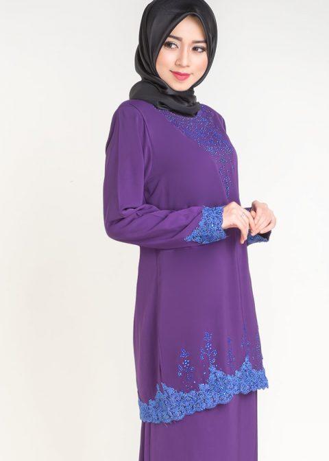baju kurung moden safiyya purple plus size side view
