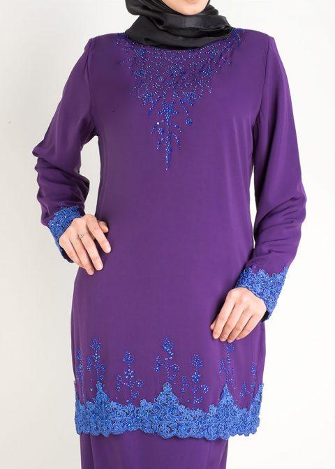 baju kurung moden safiyya purple plus size lace 3