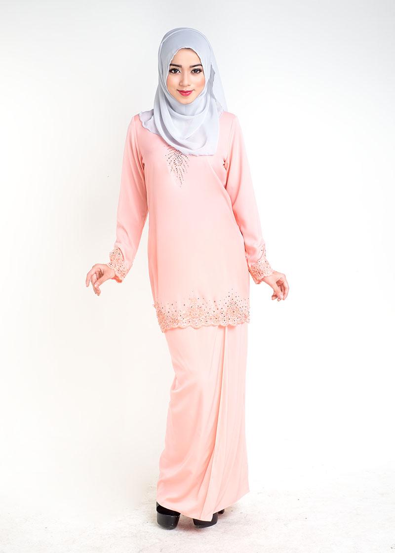 Baju Kurung Moden Sophea Kurung Peach - LovelySuri.com