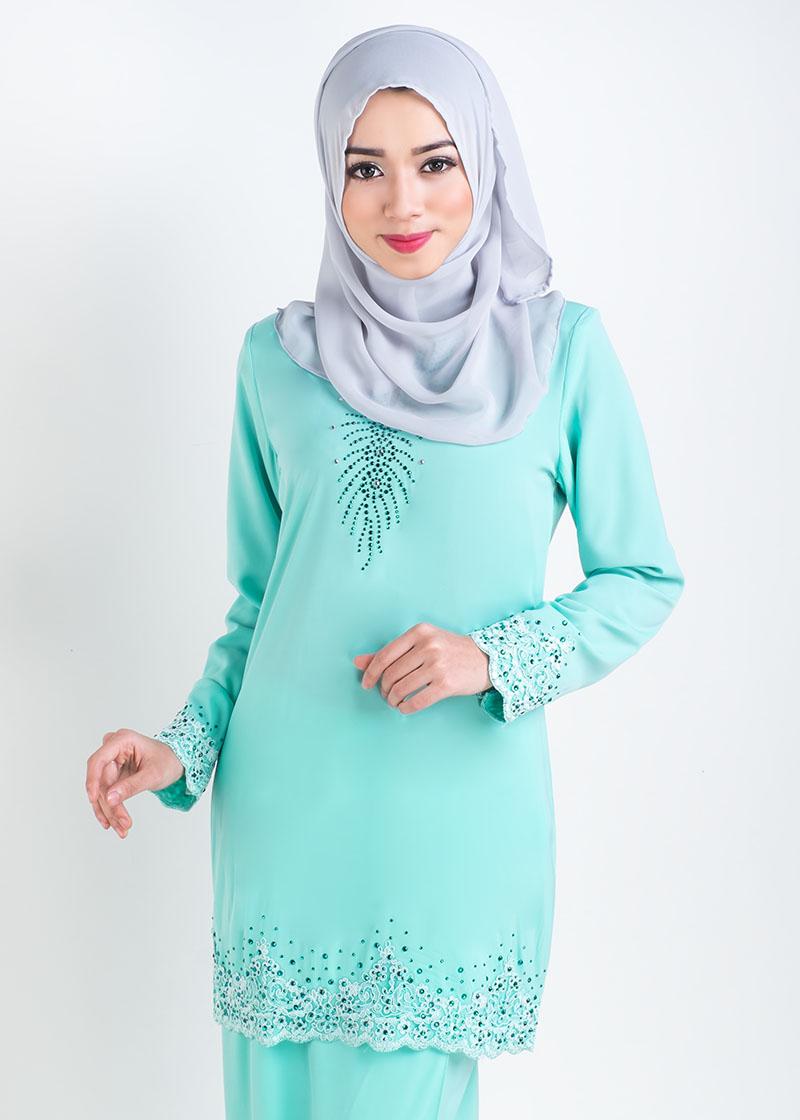 Baju Kurung Moden Lace Sophea - Mint Green