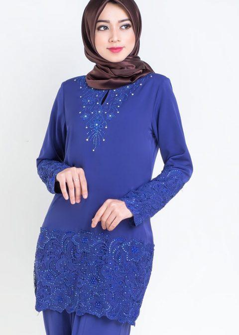 baju kurung moden prada lace royal blue