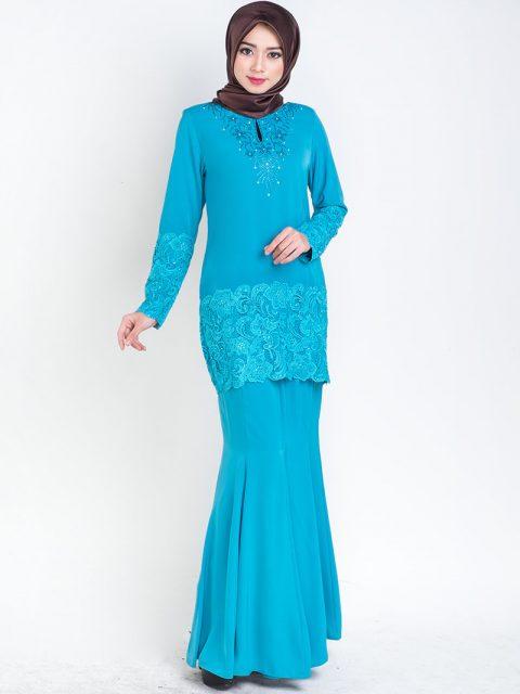 kurung moden lace prada turquoise