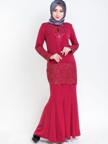 kurung moden pendek lace prada red