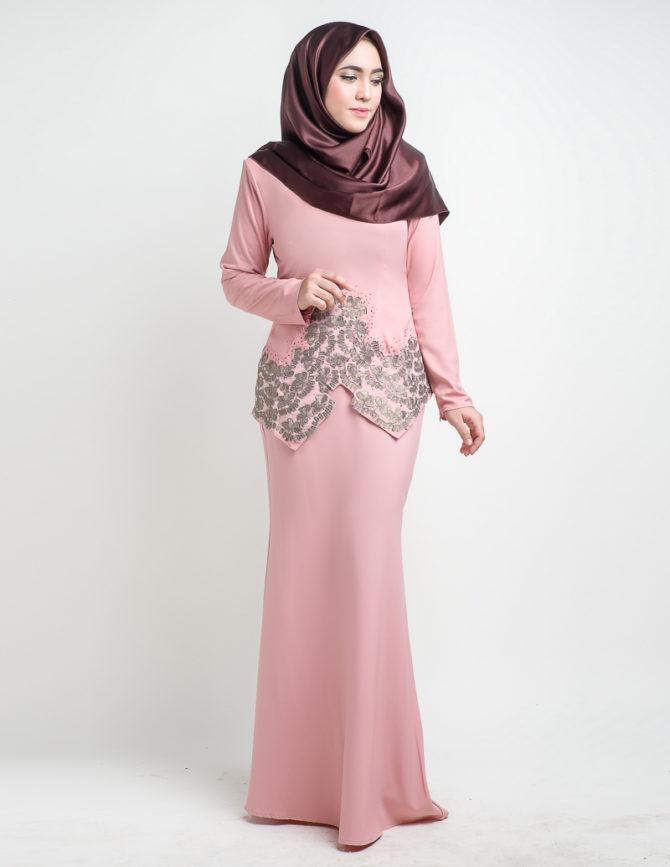 Baju Kurung Moden Saloma Pink LovelySuri com