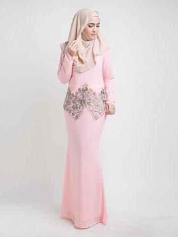 kurung moden pendek lace pink