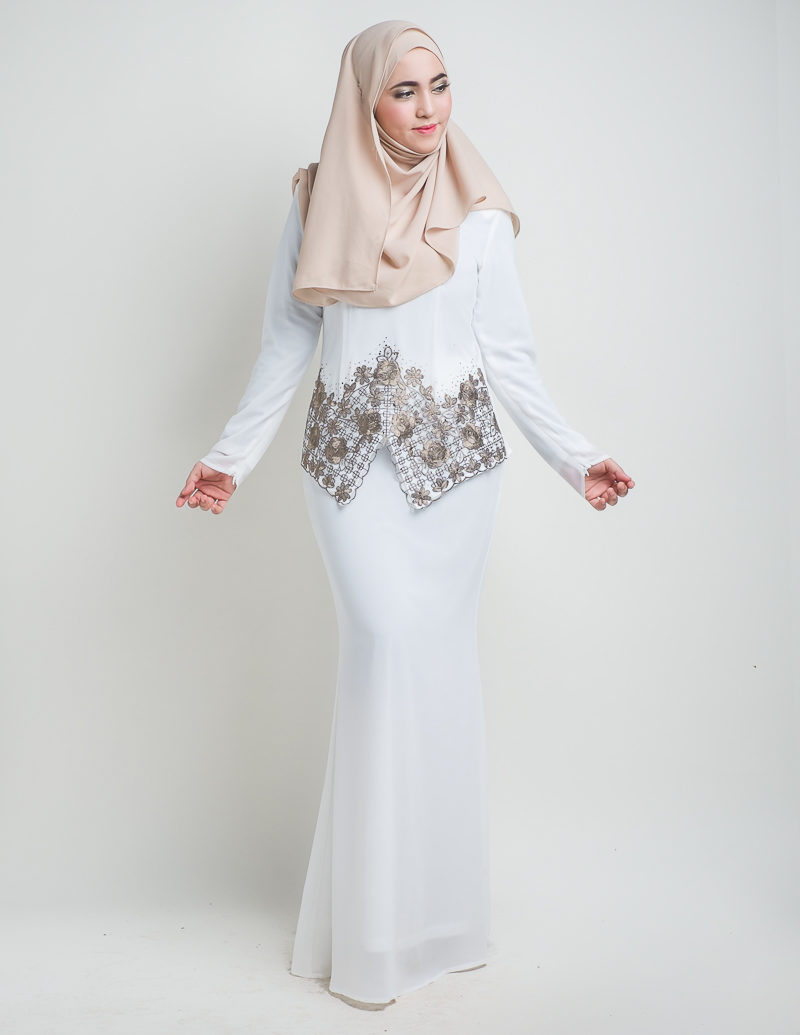 Baju Kurung Moden Suriani White