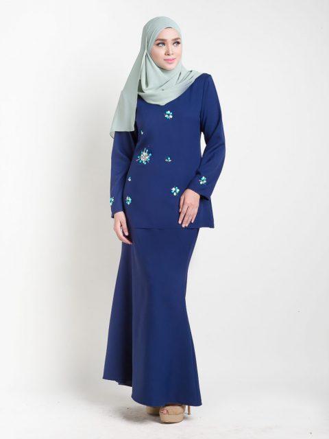 kurung moden adelia biru/blue front