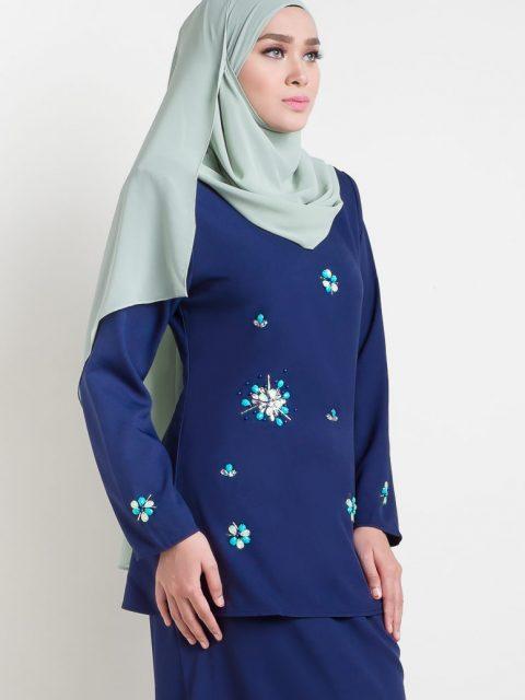 kurung moden adelia biru/blue front side