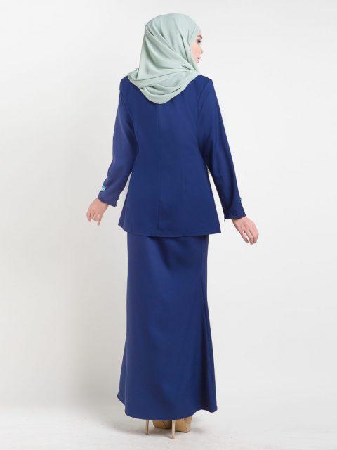 kurung moden adelia blue back