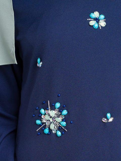 kurung moden adelia biru/blue front beads