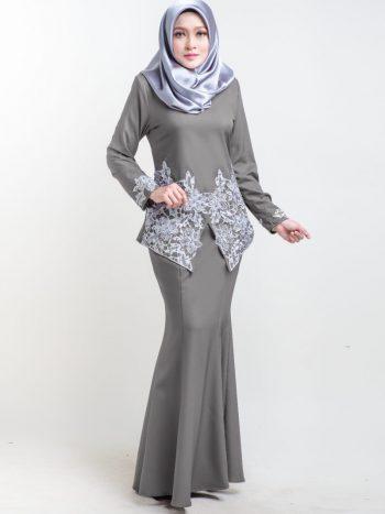 baju kurung moden lace pendek warna grey