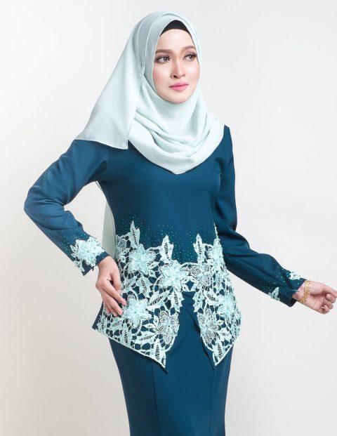 kurung moden lace sereni turqoise