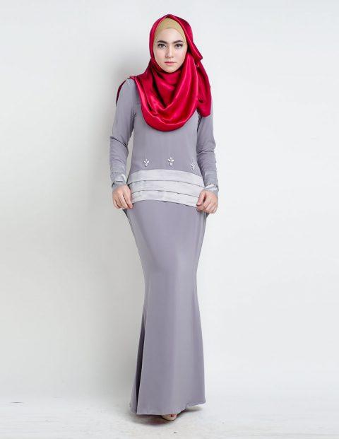 kurung moden fishtail grey