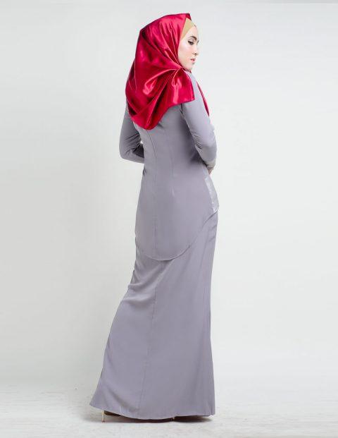 kurung moden fishtail grey back