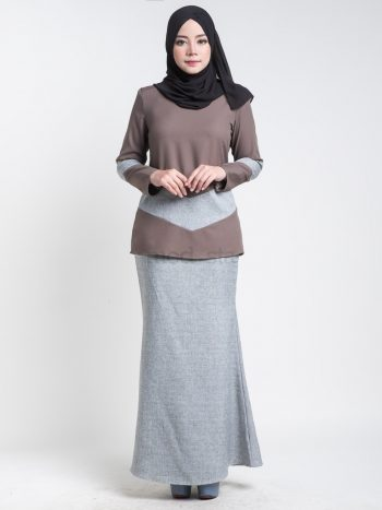 kurung moden simple brown aimie