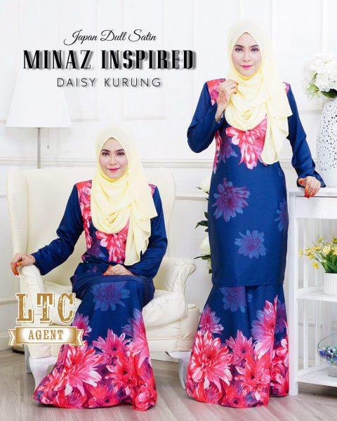 baju kurung moden labuh dark blue daisy