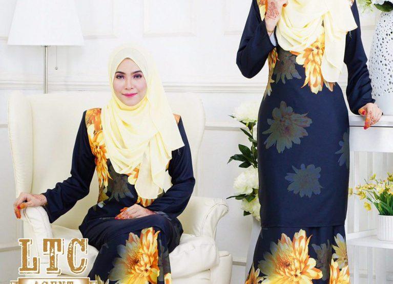 baju kurung moden labuh hitam daisy