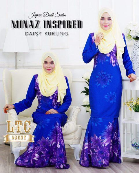 baju kurung moden labuh royal blue daisy