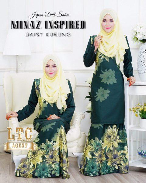 baju kurung moden labuh hijau daisy