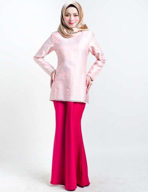 kurung moden songket servyna pink