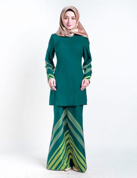 kurung moden hijau raya 2017 simple rakeel
