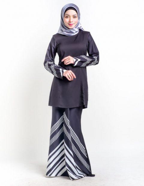 kurung moden hitam raya 2017 simple rakeel