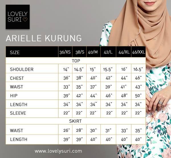 size chart arielle